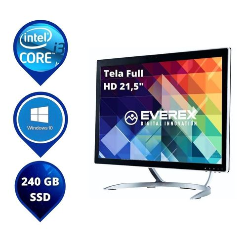 """All In One Everex Onepower Intel Core I3 8GB 240GB SSD W10 Home Tela 21.5"""" Led"""